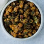 Small bowl of pan fried chickpeas