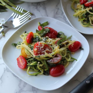 Marinated cherry tomato zoodles