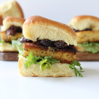 Polenta sliders with caramelized onion and fig compote