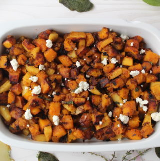 Stovetop sides: Brown butter butternut squash and apple saute with crispy sage and feta
