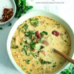 bowl and toppings of zuppa toscana