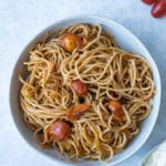 brown butter pasta with cherry tomatoes in bowl