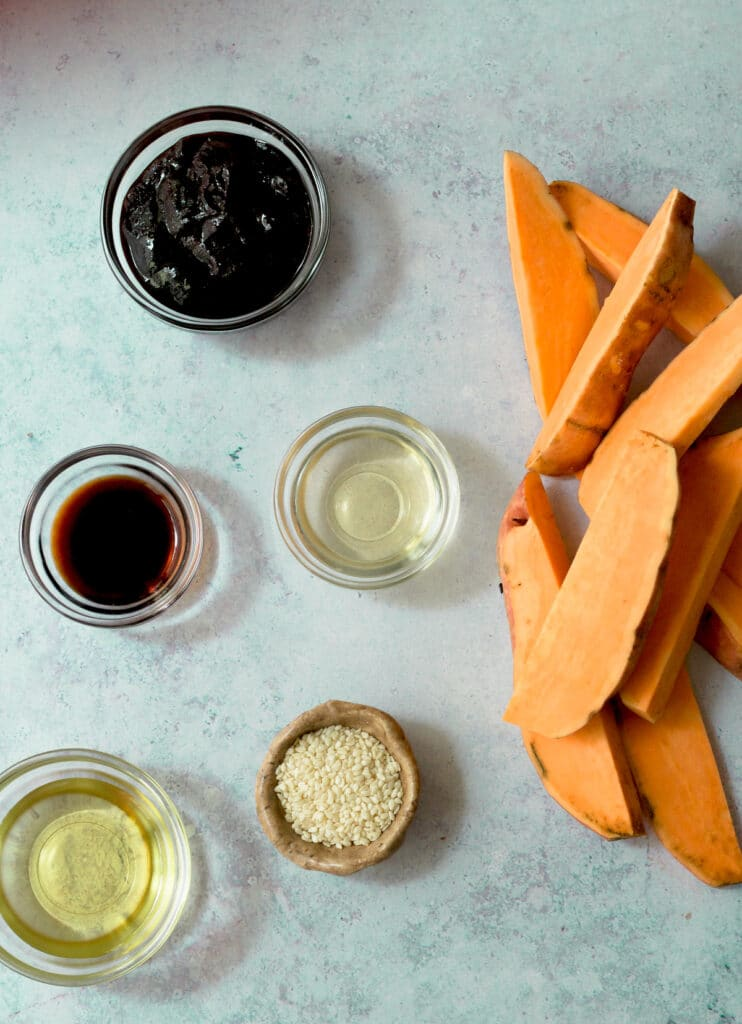 ingredients for gochujang sweet potatoes